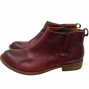 Kork-Ease Velma Red Leather Ankle Boots Size 7.5